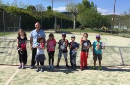 Evaluation de l'école de tennis avec les poignets de couleurs